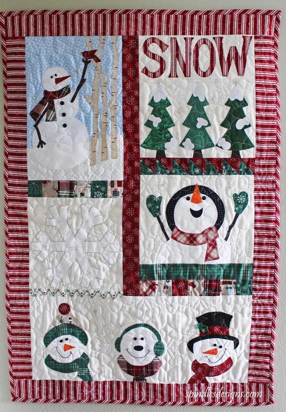 snowman wall hanging pattern christmas wall hanging pattern farmhouse christmas decor quilt wall pattern quilt pattern Unique Quilted Wall Hangings Patterns