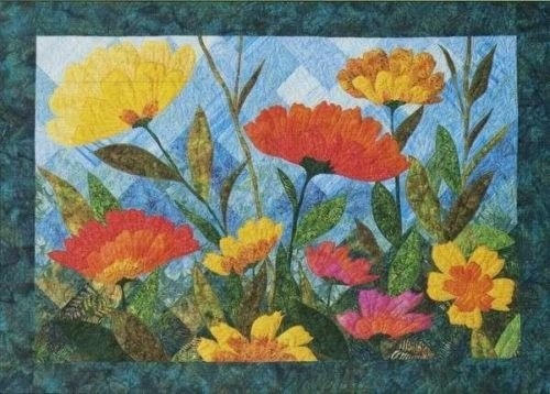 summer blooms flower applique fourth sixth designs quilt pattern Modern Flower Applique Quilt Patterns Inspirations