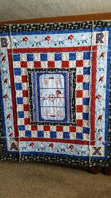 this is the slap shot hockey quilt i made for my grandson Hockey Quilt Pattern