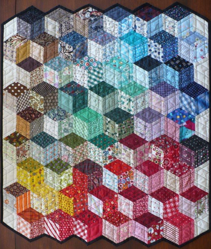 tumbling blocks finished quilt inspiration tumbling Unique Tumbling Blocks Quilt Patterns