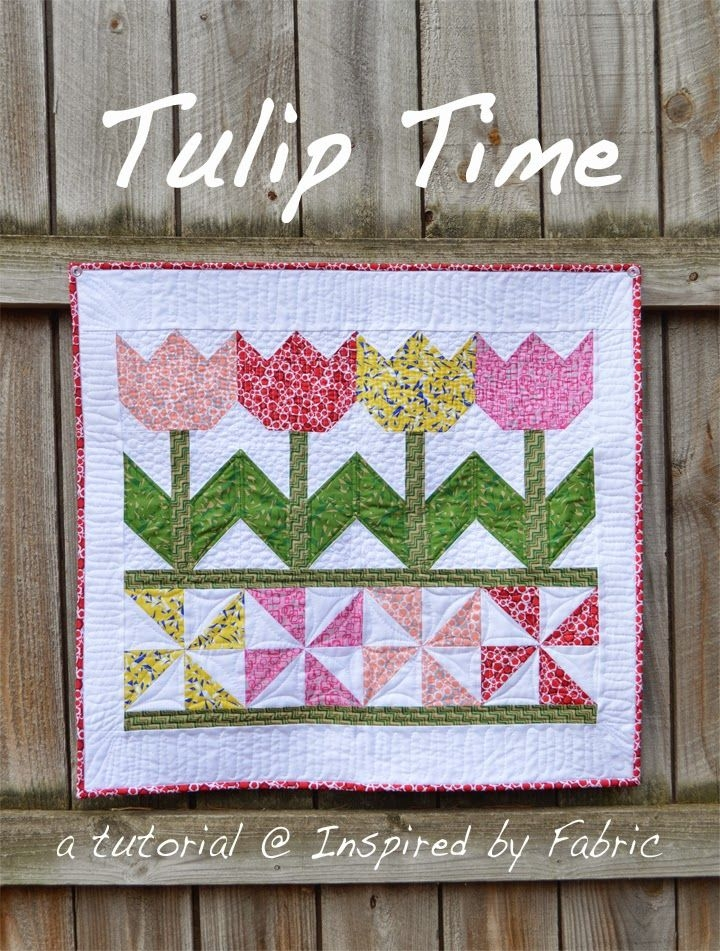 tutorial tulip time wall hanging inspired fabric Cool Quilted Wall Hanging Patterns Inspirations