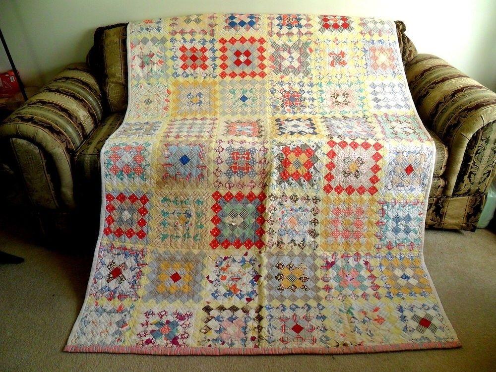 vintage antique handmade quilt granny square depression era Cool Vintage Quilts For Sale Handmade
