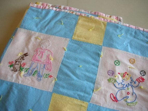 vintage ba embroidered panel quilt thebackofthebasement Cozy Vintage Baby Quilt Panels Gallery