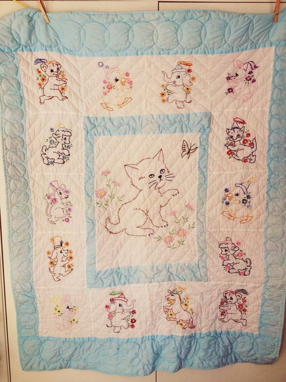 vintage ba quilt embroidered ba quilt cat quilt Modern Vintage Baby Quilts Inspirations