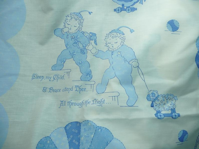 vintage blue and white ba quilt panel sleep my child and peace attend thee Cozy Vintage Baby Quilt Panels Gallery
