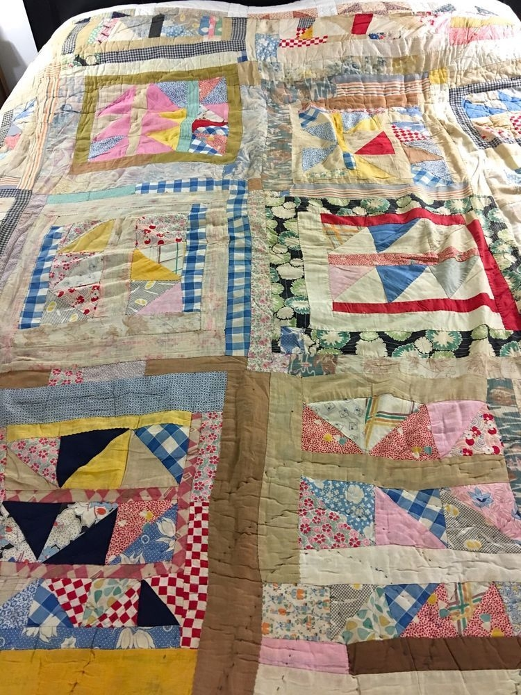 vintage handmade feed sack triagles patchwork quilt 81 x 70 Interesting Handmade Patchwork Quilt Vintage Gallery