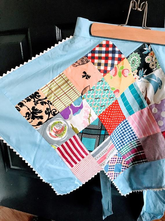 vintage handmade patchwork quilt apron retro handmade patchwork hostess apron half apron vintage kitchen decor Interesting Handmade Patchwork Quilt Vintage Gallery