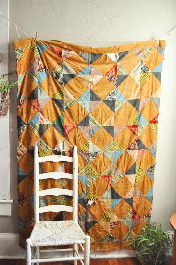 vintage patchwork corduroy quilt bedspread handmade from Elegant Vintage Quilts And Bedspreads Inspirations