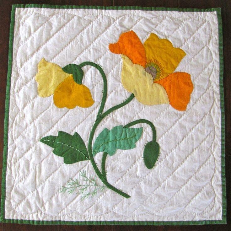 vintage quilt block applique poppy finished yellow orange Stylish Vintage Applique Quilt Patterns Inspirations