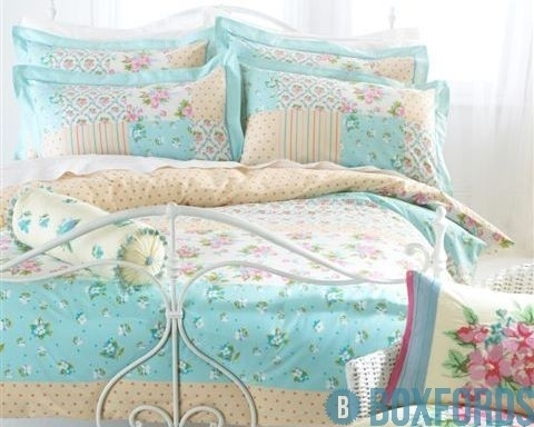 yellow blue vintage bedding comforter sets king queen size Interesting Vintage Style Quilt Covers