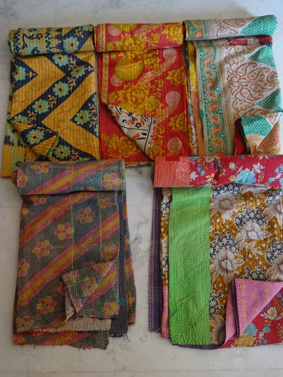 20 vintage kantha quilt free shipping plaids gudri reversible throw ralli bedspread bedding india wholesale Stylish Vintage Kantha Quilts Wholesale Gallery