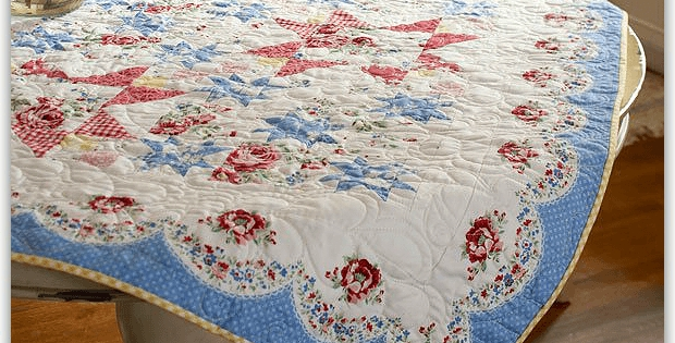 a quilted vintage style tablecloth quilting digest Modern Vintage Style Quilts Gallery