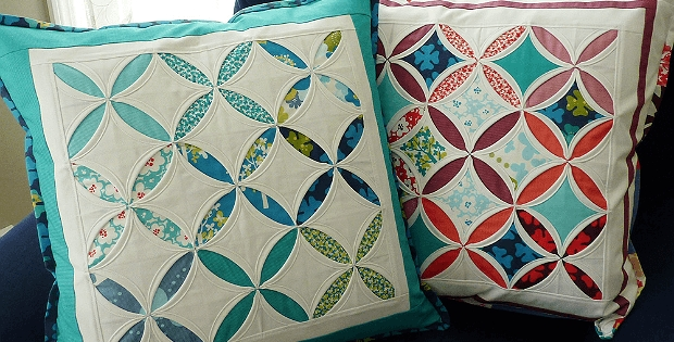 cathedral window pillows are all done machine quilting Elegant Cathedral Window Quilt Pattern
