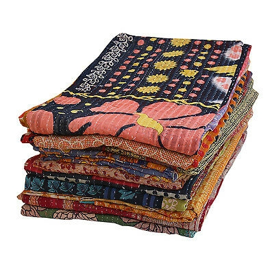 indian vintage kantha quilts blankets wholesale lot 5 pc kantha throws handmade ebay Stylish Vintage Kantha Quilts Wholesale Gallery