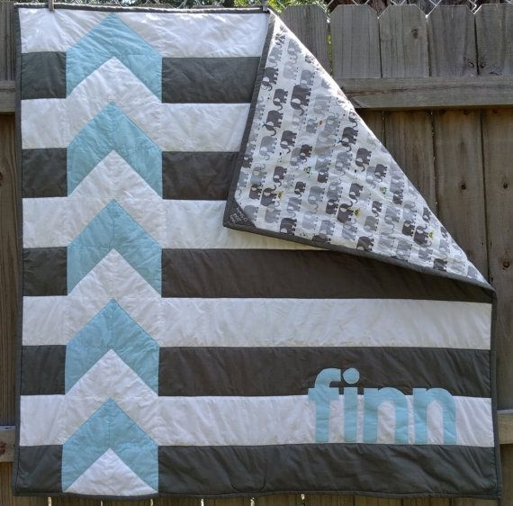 modern personalized chevron quilt for ba boy shelsy on etsy Baby Boy Quilt Patterns Inspirations