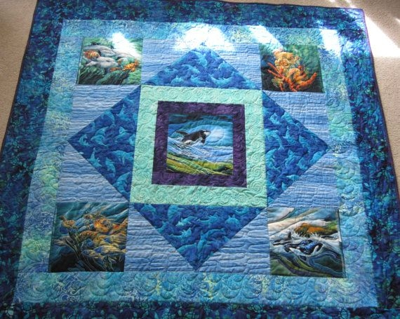 pdf pattern ocean panels lap medallion quilt using printed Unique Wildlife Quilt Fabric Panels Inspiration Inspirations