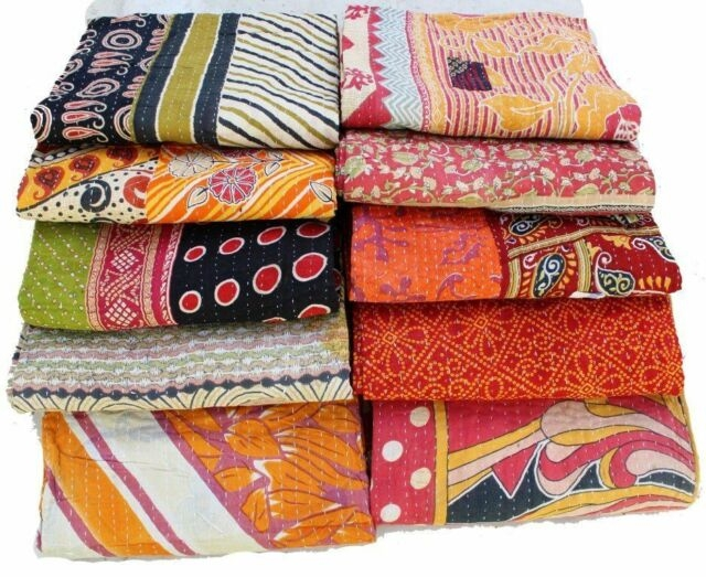 reversible vintage kantha quilts wholesale lot 4 pc heavy gudri throws blankets Stylish Vintage Kantha Quilts Wholesale Gallery