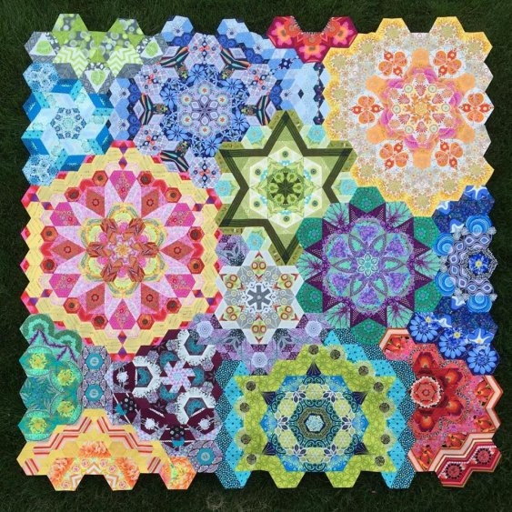 the new hexagon millefiore quilt along katjas quilt shoppe Unique Hexagon Pattern For Quilting
