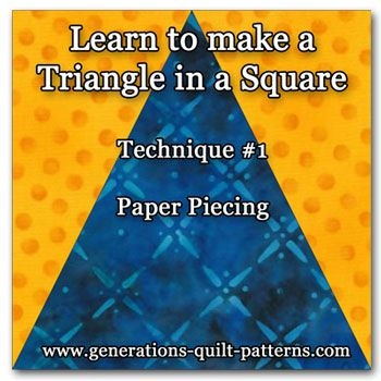 triangle in a square quilt block tutorial quilt blocks Elegant Triangle In A Square Quilt Block