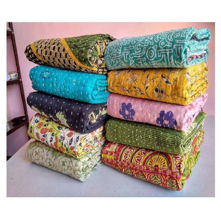 vintage kantha quilt quality hand stitching reversible wholesale lot cotton kantha quilt blanket throw bohemian bedspread buy kantha Stylish Vintage Kantha Quilts Wholesale Gallery