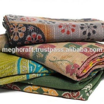 wholesale authentic vintage artisan thick kantha quiltblanketthrowpatchworkbohoup cycledindian quiltgudri buy vintage sari patchwork Stylish Vintage Kantha Quilts Wholesale Gallery