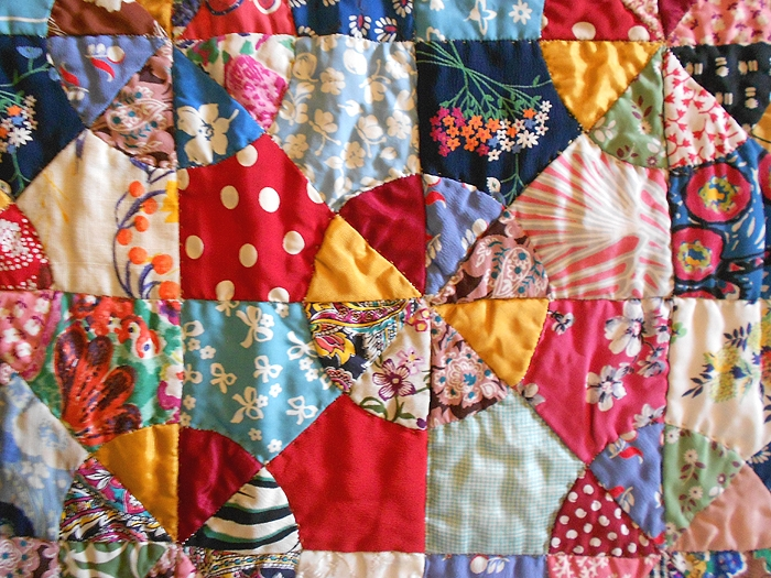 1930s antique hand pieced hand stitched scrap quilt in the Unique Vintage Quilts For Sale