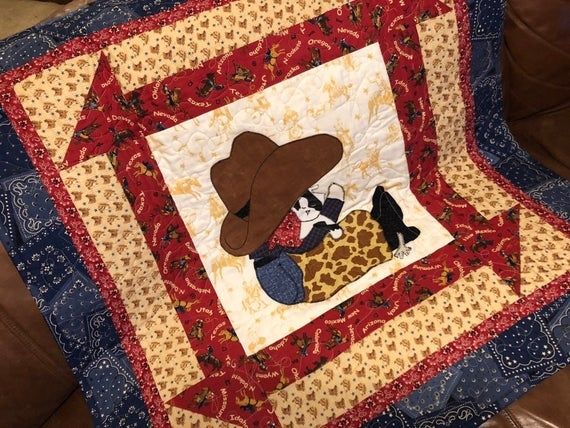 ba cowboy quilt pattern cute western horse or pony gift easy bed or wall hanging beginner appliqu quilt pattern Modern Horse Baby Quilt Pattern Gallery
