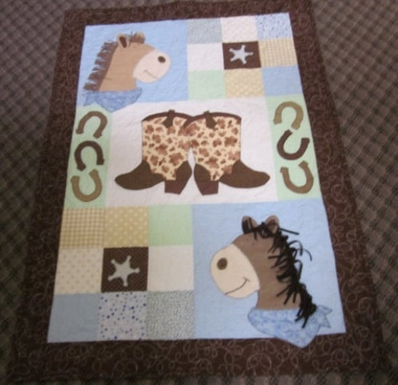 ba cowboy quilt pattern pony up cute horse western quilt pattern gift easy bed or wall hanging appliqu pattern Modern Horse Baby Quilt Pattern Gallery