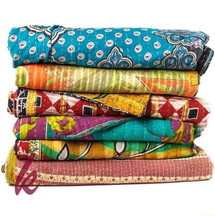 bed cover vintage kantha quilt vintage kantha ralli sari Stylish Vintage Kantha Quilt Gallery