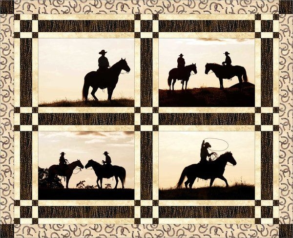 cowboy silhouette quilt block set horse quilt Unique Silhouette Quilt Patterns