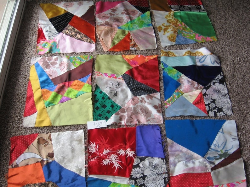 crazy quilt blocks victorian 12 blocks 115 x 155 unfinished quilt satin vintage collectible sewing supply pillows crazy 1 Elegant Vintage Crazy Quilt Supplies Inspirations