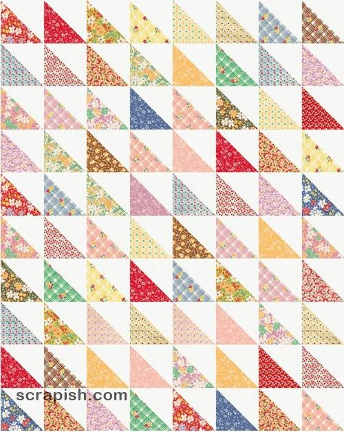 easy half square triangle quilt pattern tutorial Cozy Half Square Triangle Quilt Pattern