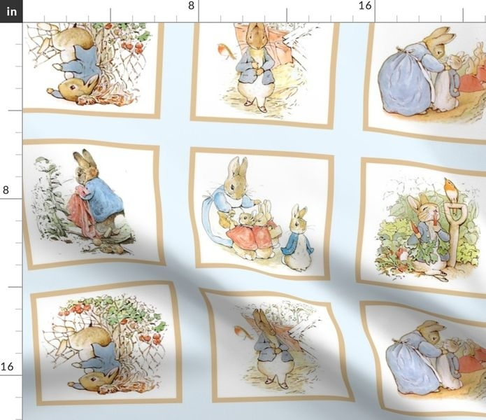 fabric the yard peter rabbit quilt block panel no 1 ice blue Cozy Peter Rabbit Quilt Pattern Inspirations