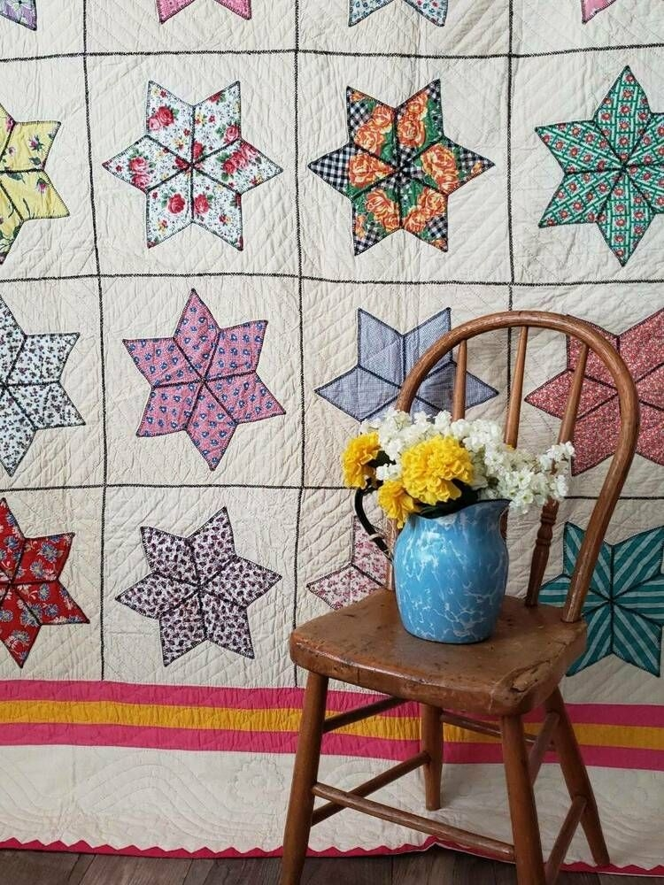 fancy and a king size beauty vintage pink yellow star Unique Vintage Quilts For Sale