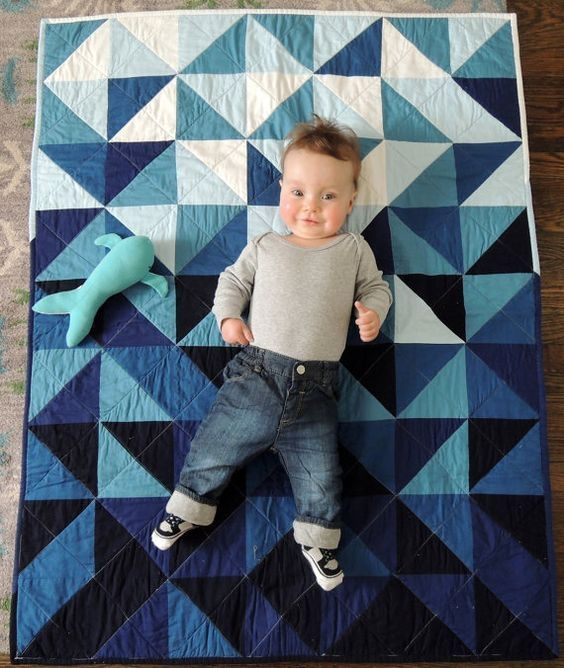 indigo ombre triangles quilt cool design for bedspreads Elegant Ombre Triangle Quilt Gallery