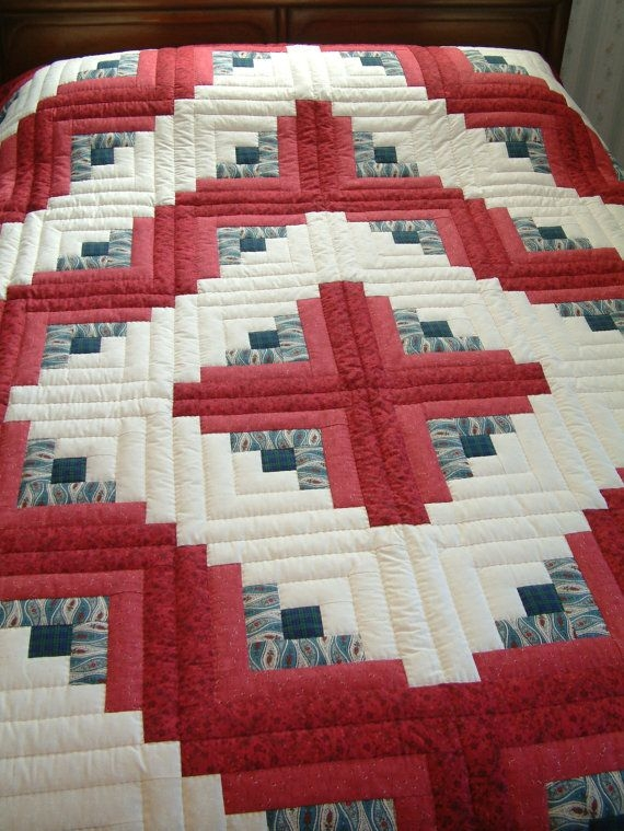 king size red and blue hand quilted log cabin quilt barn Cool Barn Raising Quilt Pattern Inspirations