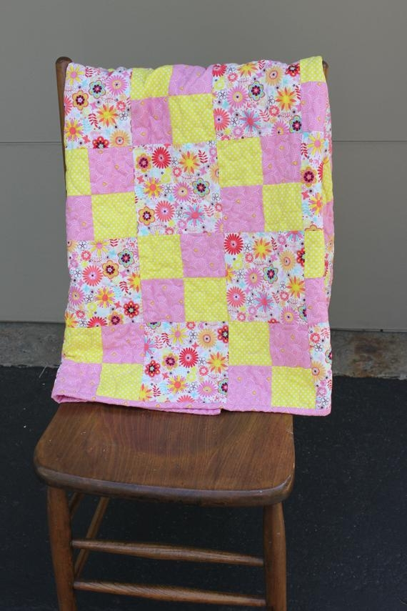 pink lemonade ba quilt pink and yellow flowers minky backing Elegant Pink Lemonade Quilt Pattern