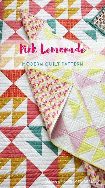 pink lemonade modern quilt pattern beginner quilt Elegant Pink Lemonade Quilt Pattern