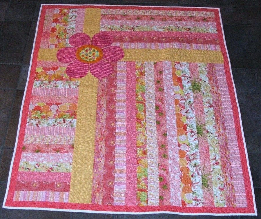 quick jelly roll quilt with daisy future inspiration girl Elegant Jelly Roll Baby Quilt Ideas Inspirations