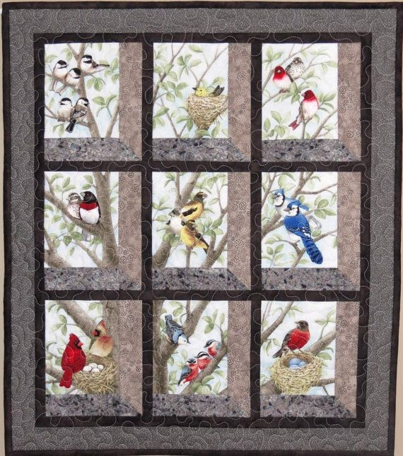 quilted and pieced wall hanging attic window birds in tree Interesting Easy Attic Windows Quilt Block Pattern Inspirations