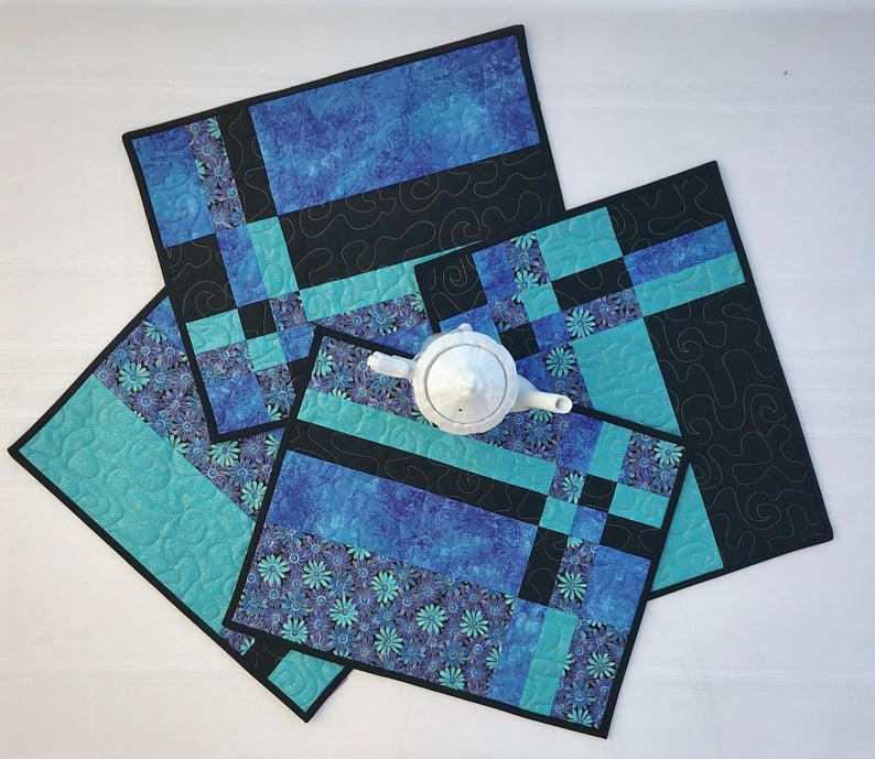 quilted placemat set of 4 blue placemats modern placemats handmade placemats pieced placemats table decormodern floral placemats Stylish Modern Quilted Placemat