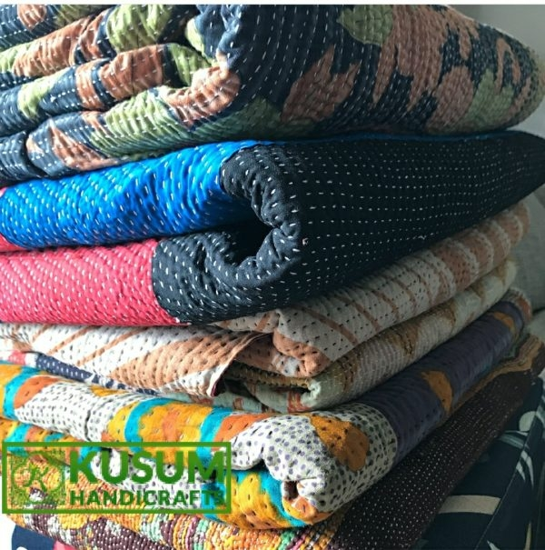 reversible kantha blanket vintage kantha throw wholesale vintage kantha quilt handmade sari kantha throw kantha blanket Stylish Vintage Kantha Quilt Gallery