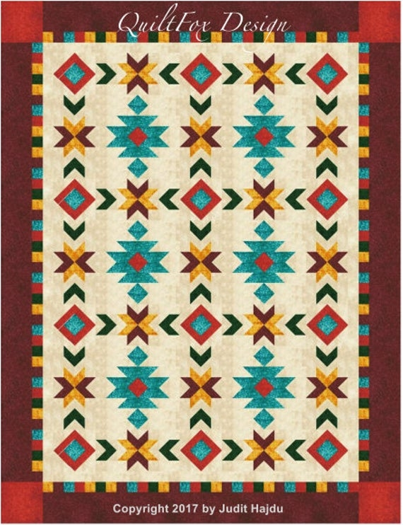 southwest inspired fullqueen size quilt pattern 76 in x 100 in Unique Queen Size Quilt Patterns Inspirations