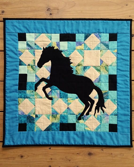 stallion silhouette quilted wall hanging black rearing Unique Silhouette Quilt Patterns