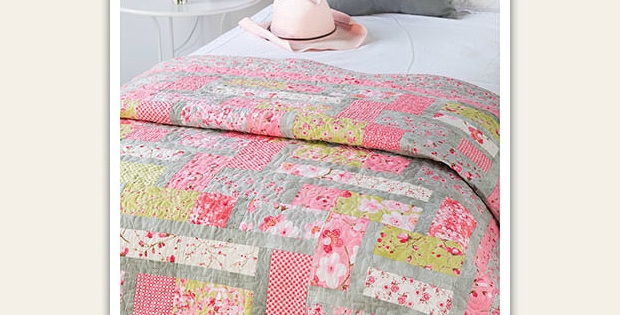 sweet colors are lovely in this quilt quilting digest Elegant Pink Lemonade Quilt Pattern