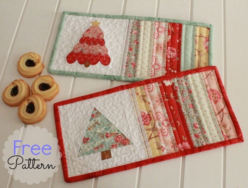 threadbare creations free pattern christmas mug rugs mug Modern Quilted Mug Rugs Patterns