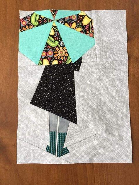 umbrella girl paper piecing quilts paper pieced quilt Elegant Umbrella Girl Quilt Pattern