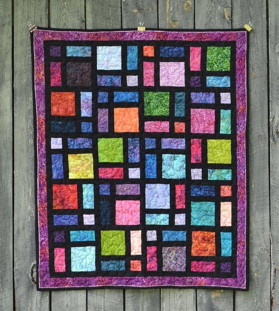 batik stained glass window quilt with purple border ba quilt throw quilt toddler quilt playmat 11   Stained Glass Window Quilt Pattern Gallery