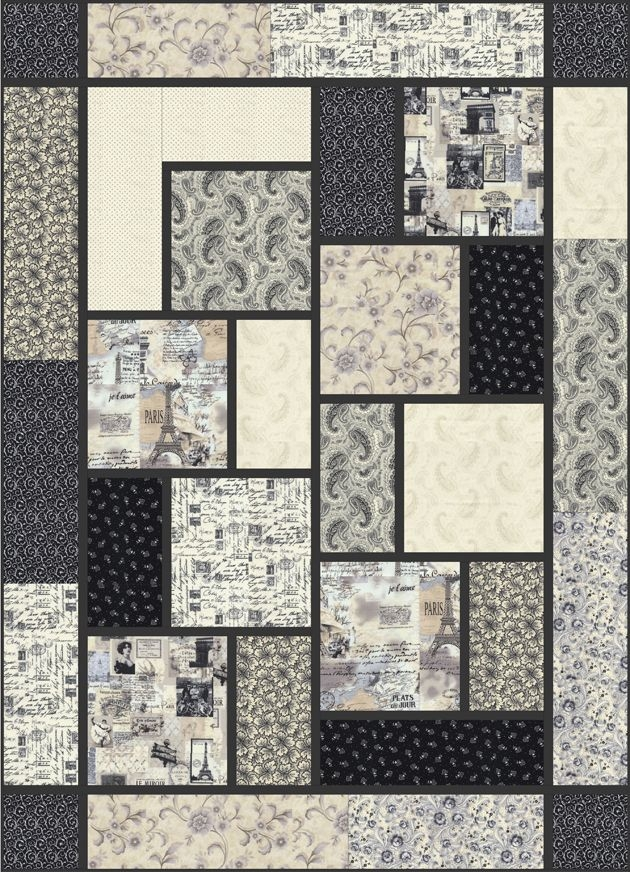 Beautiful big block quilt black cat creations free pattern big 9   Big Block Quilt Patterns For Beginners Gallery