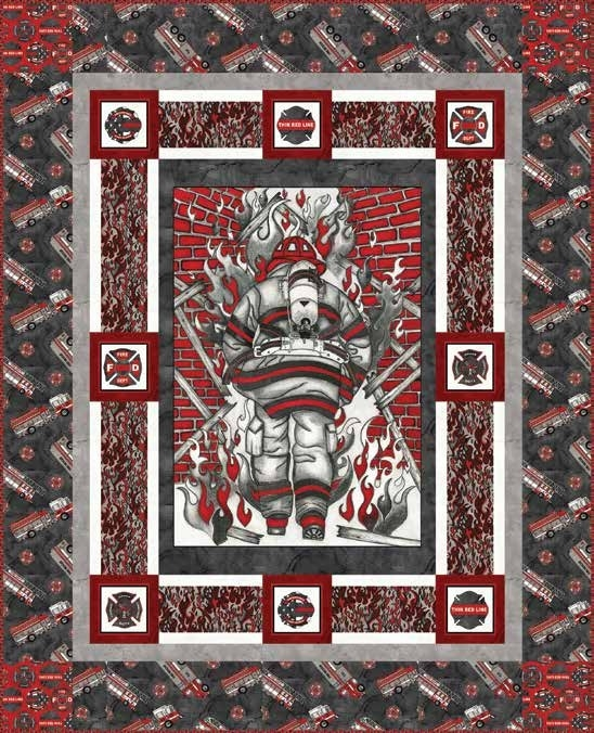 Beautiful free pattern thin red line quilt 1 11 Modern Firefighter Quilt Patterns